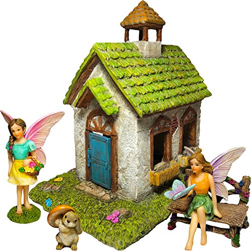 Mood Lab Fairy Garden Fairy House - Miniature Fairy Garden Figurines with Accessories - Set of 5 pcs - Hand Painted Kit For Outdoor or House Decor