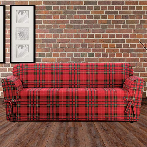 (BrylaneHome Highland Plaid Relaxed-Fit Sofa Slipcover - Red)