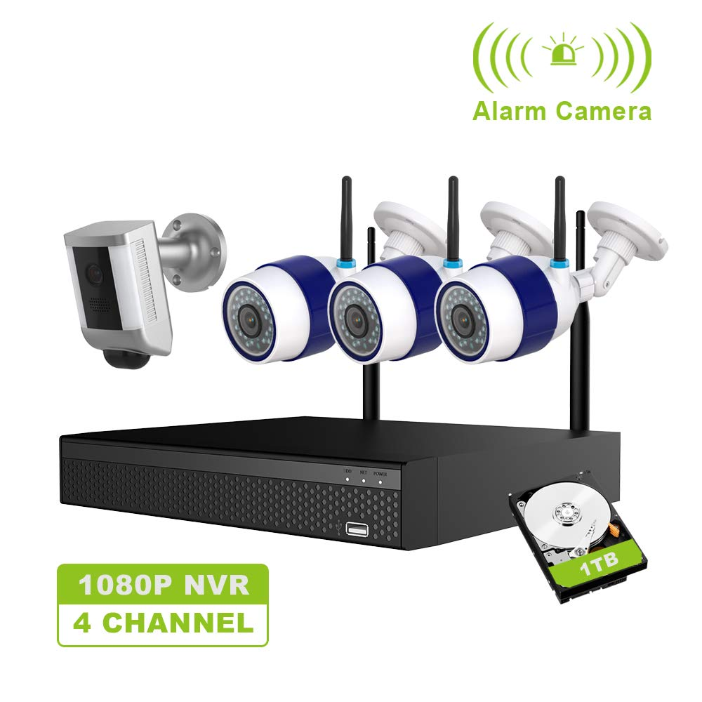 Freecam Wireless Security Camera System,4Pcs 1080P 2.0MP Surveillance IP Cameras with Night Vision,Motion Detection,4-Channel WiFi NVR Kits,2 Way Audio,Plug & Play,Remote Monitoring (M430-C) by Freecam