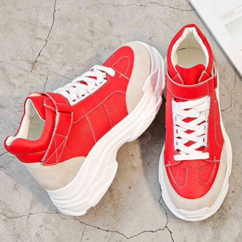 White Korean Shoes Thick Super Sports UK5 Version shoes cozy White Red Fire 5 Shoes Bottom CN38 LVZAIXI EU38 Small Color Size 6f5qw