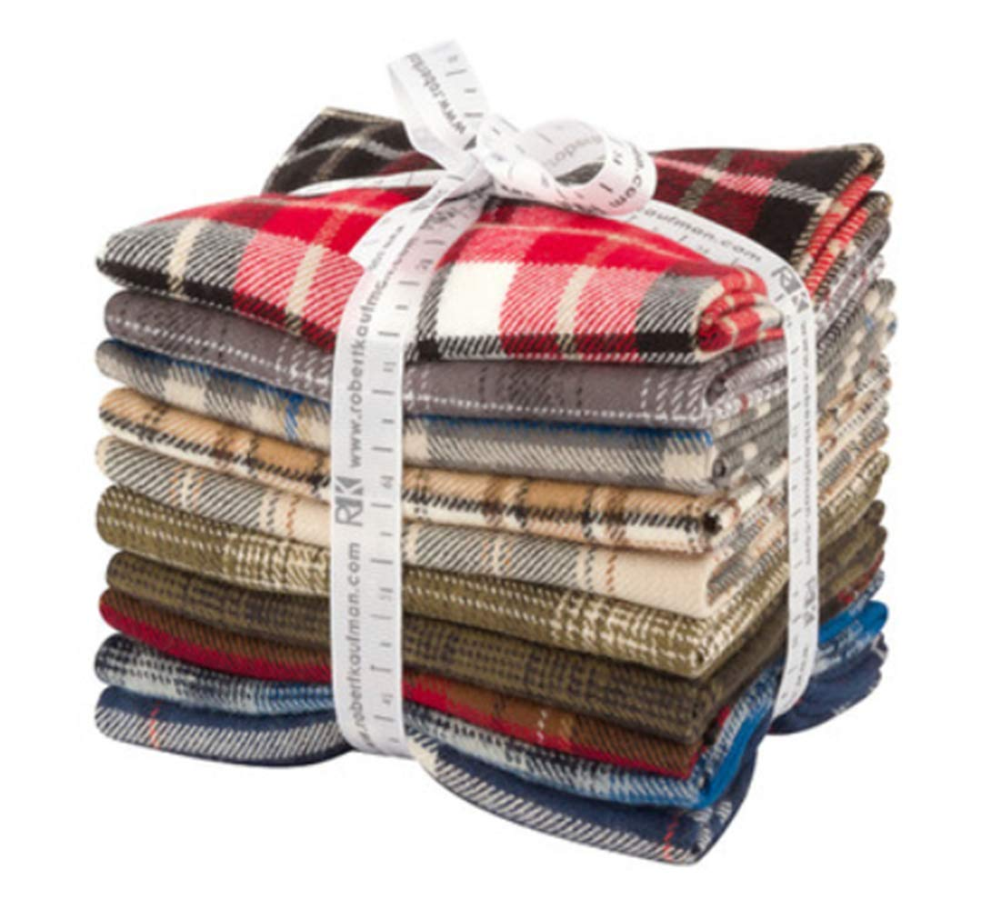 Studio RK Tahoe Flannel Fat Quarter Bundle 10 Precut Cotton Fabric Quilting FQs Assortment Robert Kaufman FQ-1406-10 Robert Kaufman Fabrics