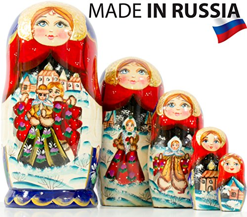 Russian Nesting Doll -Village Scenes - Hand Painted in Russia - 5 color/size variations - Traditional Matryoshka Babushka (6.75``(5 dolls in 1), Scene H) - Hand Painted Nesting Dolls