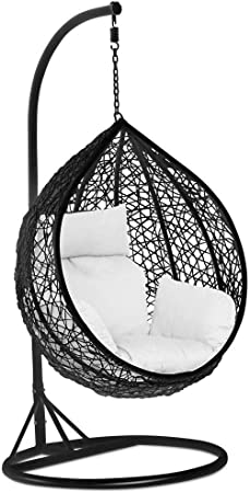 Yuany Garden Patio Rattan Swing Chair Wicker Hanging Egg Chair Hammock W Cushion And Cover Indoor Or Outdoor Max 150kg Black No Chair Amazon Co Uk Kitchen Home
