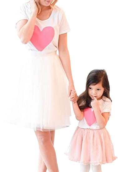 66c5fc72d Amazon.com: hujukuludusu Family Matching Outfits Mother Daughter Heart T-Shirt  Top Tulle Skirt Clothes Set: Clothing