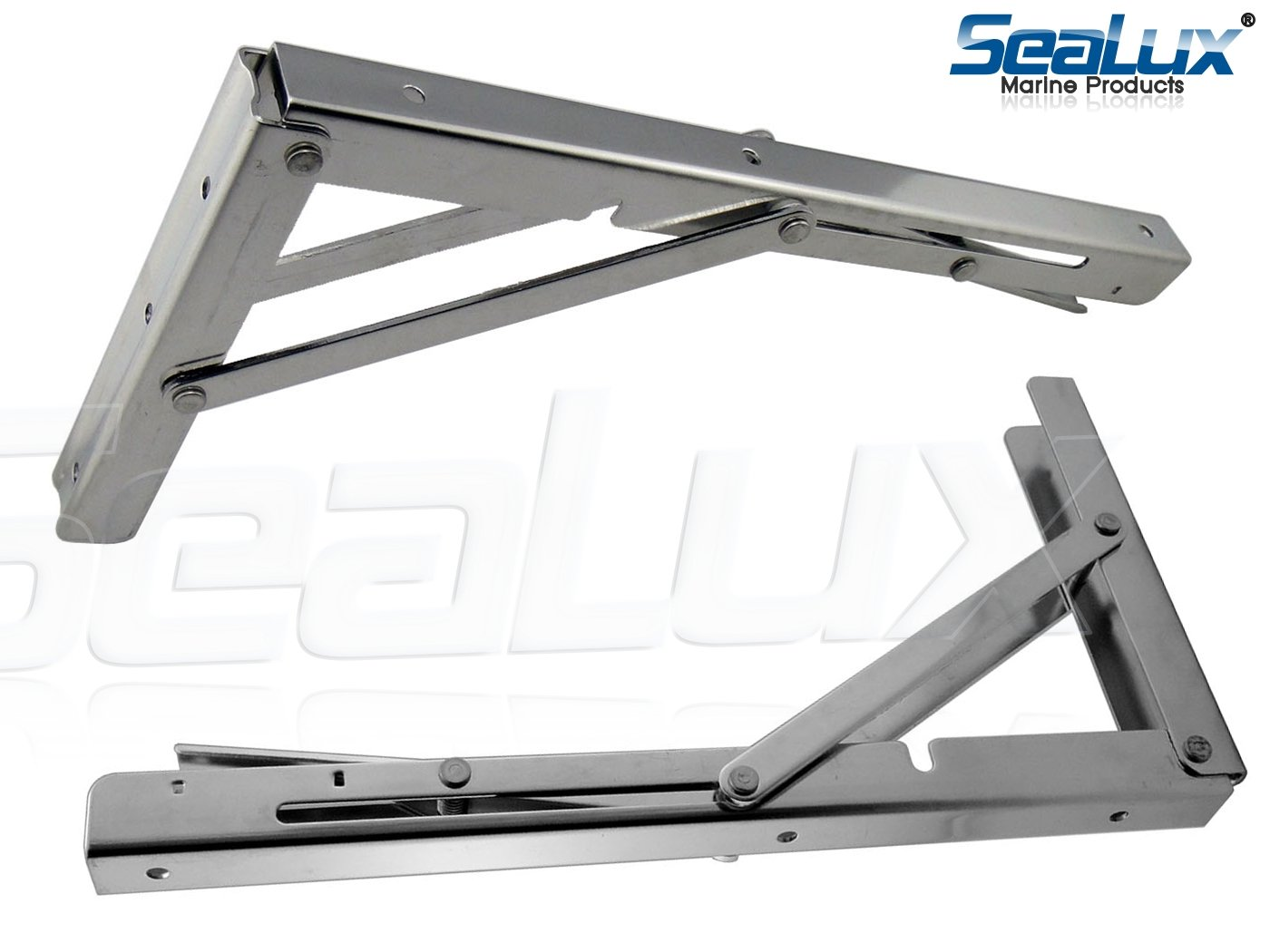SeaLux Stainless Steel Folding Brackets 90 degree Shelf, Bench, Table Support 12'' Long with easy reach Long release Handle / Max. Bearing 330 lb (Sold as 2 pcs) by SeaLux Marine Products (Image #2)