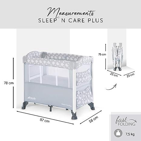 Hauck Sleepn Care Plus - Minicuna, 5 piezas, con colchón, ruedas, bolsas, barandilla lateral de bajar para acceder al bebe, bolsa de transporte, ...