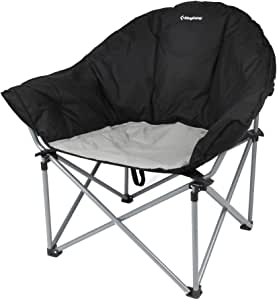 KingCamp Oversized Camping Club Chair Moon Saucer Sofa Chair Padded Folding Heavy Duty Deluxe Stable Carry Bag Included 300lbs Capacity