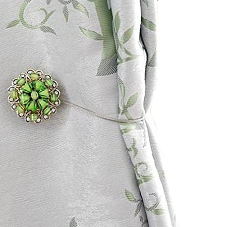 BIPY Curtain Tiebacks Crystal Magnetic Green Floral Shower Curtains Clip Holdbacks Tie Backs Pack Of