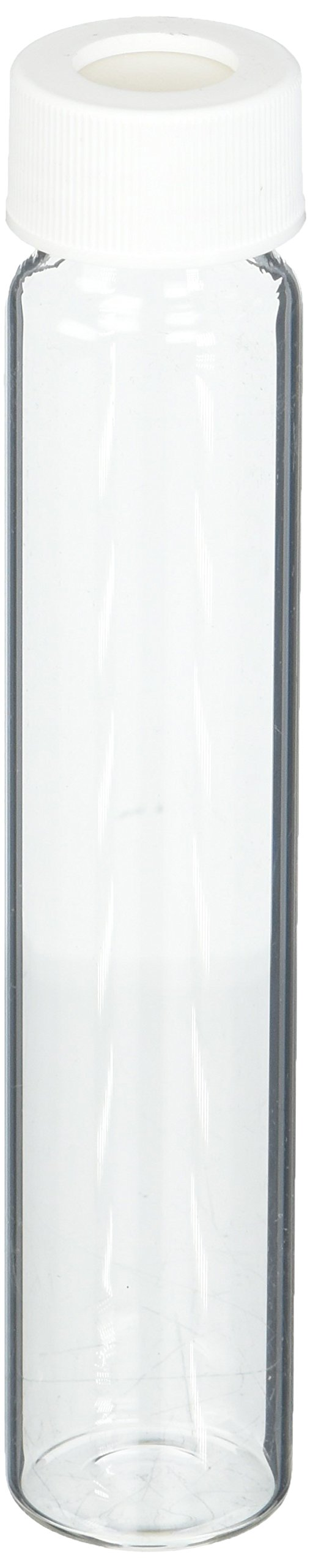 Thomas Scientific 9-093-2 Clear Borosilicate Glass VOA Vial with White Polypropylene 24-414mm Open Top Closure and 0.100'' PTFE/Silicone Septa, Precleaned, 60mL Capacity (Pack of 72)
