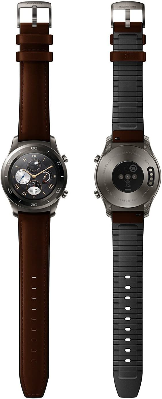 Huawei Watch 2 Classic Smartwatch - Ceramic Bezel- Brown Leather Strap(US Warranty)