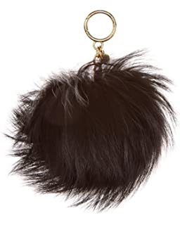 665c2ea3c5c1 Michael Kors Shearling Pompom Gold Chain Keychain Purse Fob Black ...