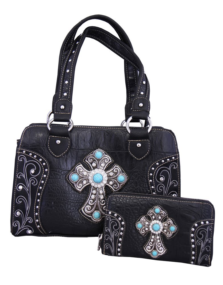 Montana West Brand Westren Style Spiritual Purse and Wallet Set with Silver Cross Black