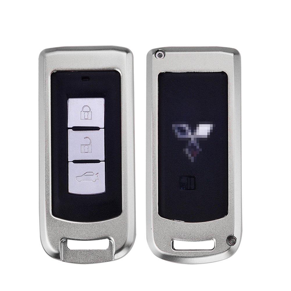 DAYJOY Premium Aluminum Car Key Shell Cover With Key Chain For Mitsubishi ASX LANCER FORTIS Lancer EX Outlander SERIES remote control Smart Key (BLACK)
