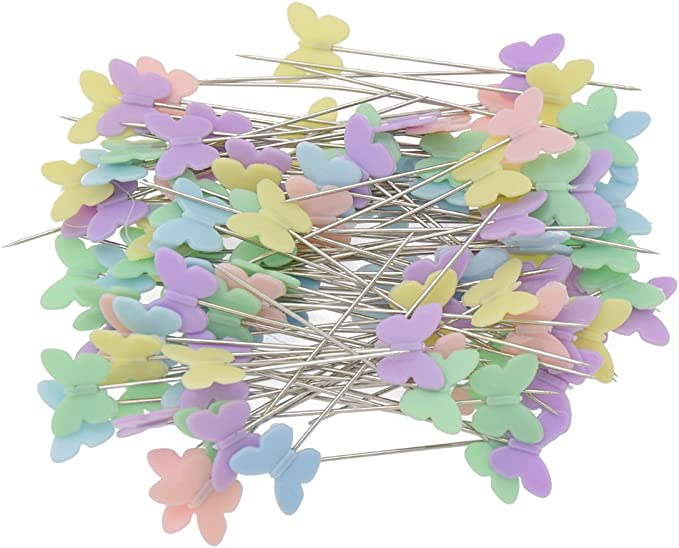 Patchworks Stecknadel Kunststoff Schmetterling Flachkopf 100 Stück