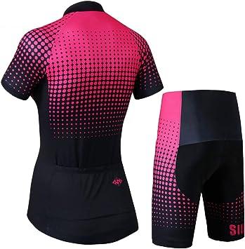 OD-B Ciclismo para Mujer Conjunto De Camisetas De Bicicleta, Ropa para Bicicleta De Deportes Al Aire Libre Camisas De Manga Corta Pantalones Acolchados 3D, Trajes De Ropa Deportiva para Montar,S: Amazon.es: Deportes