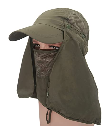 4fc341f7 Roffatide UPF 50+ Sun Hat with Neck Flap Removable Multifunction Outdoor  Sport Summer Cap Army