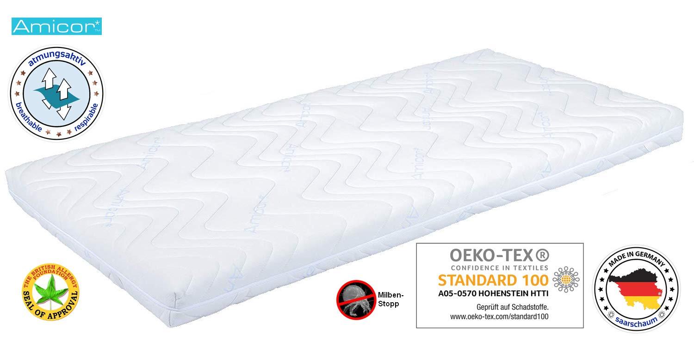 Saarschaum® Matratzenbezug Matratzenschonbezug Matratzenschutz Matratzenhülle Topper Amicor® 100 x 200 cm geeignet für Höhe 15 bis 19 cm