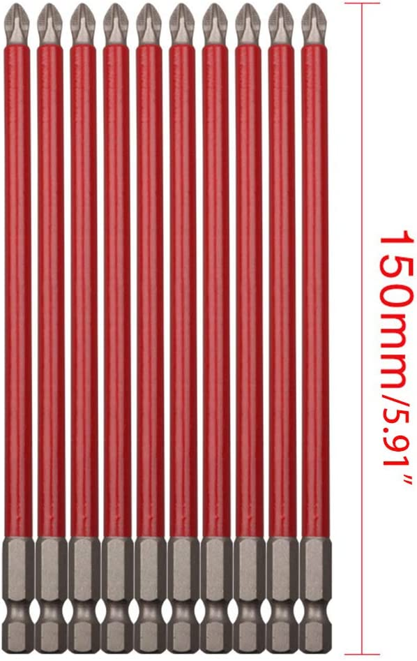 Lot de 10 embouts de vissage longs et antid/érapants PH2 150 mm