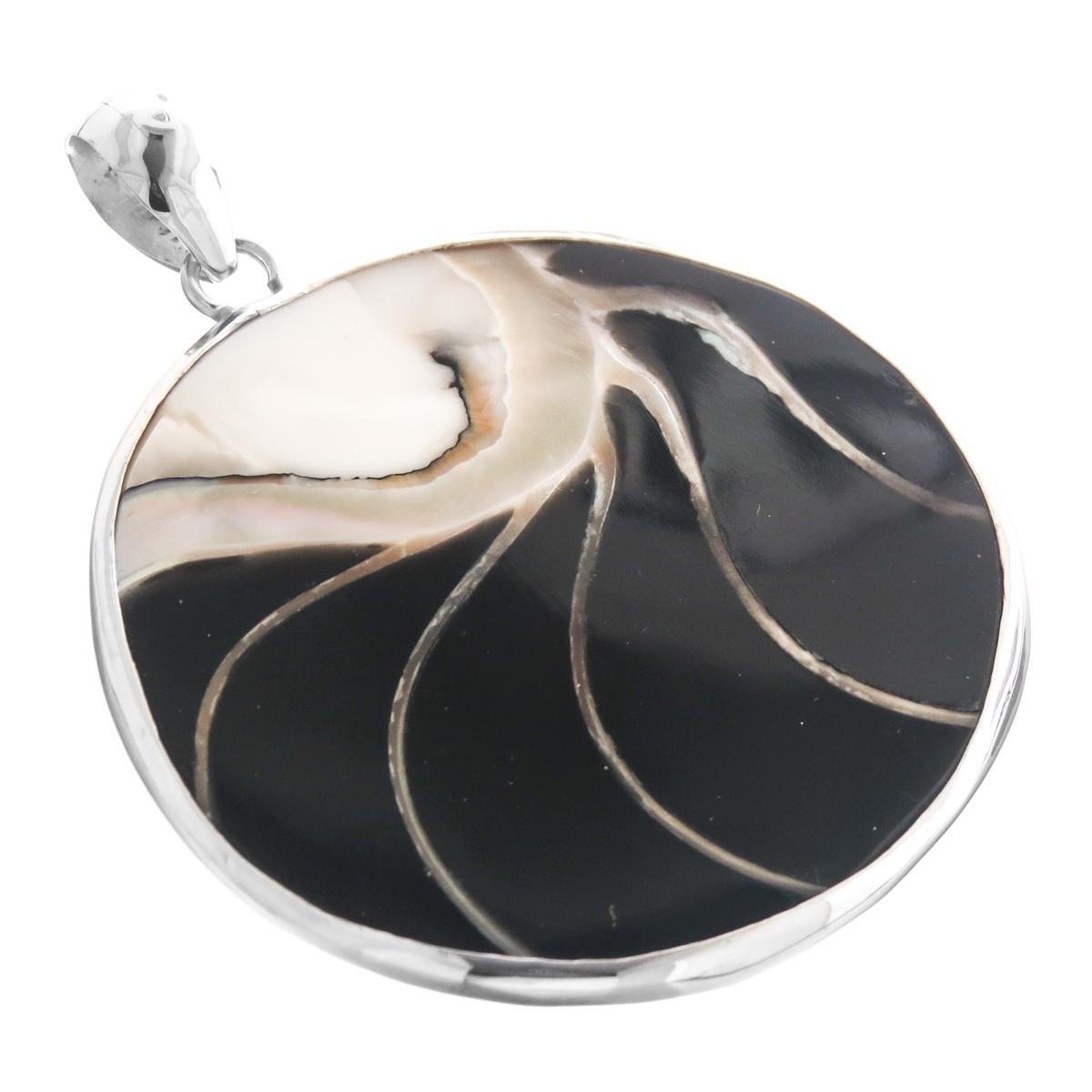 Genuine Nautilus Shell Black Resin Fill 925 Sterling Silver Pendant 2 3//16