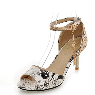 8e6a0a120e8 SaraIris Women s Peep Toe high Heels Ankle Strap Printing Summer D Orsay    Two-