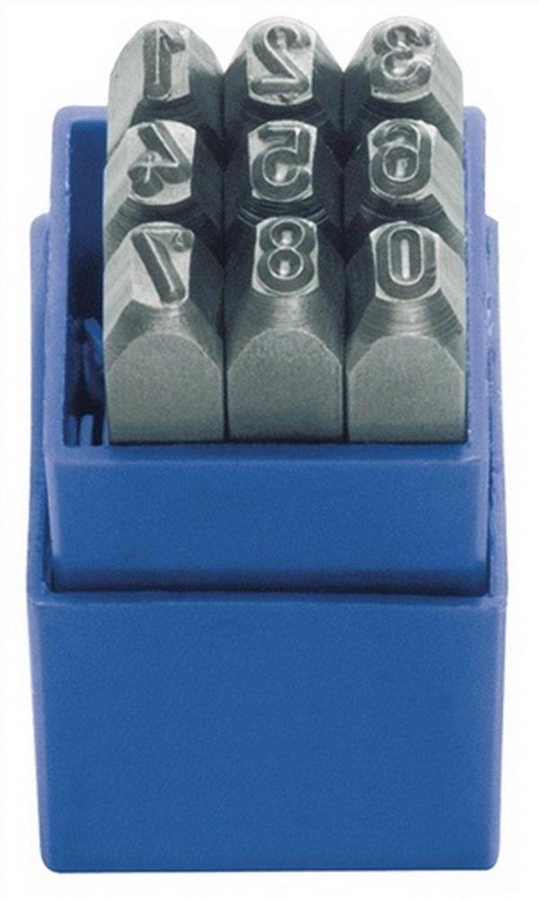 Schlagzahlensatz 9tlg.Schrift-H.3mm 0-9 Gravur 58-60HRc i.Ku.-Box TURNUS
