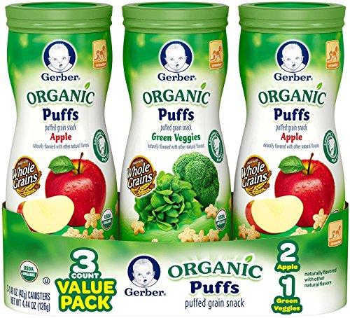 Gerber Graduates Organic Puffs Variety, 4.44 Ounce (Pack of 3)