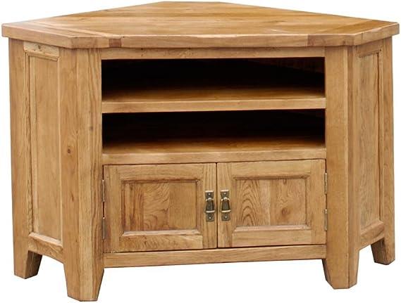 Madera de roble Neo muebles rústicos mueble de esquina para televisor con función de atril: Amazon.es: Hogar