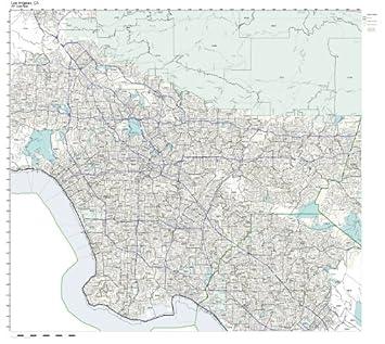 zip code wall map of los angeles ca zip code map not
