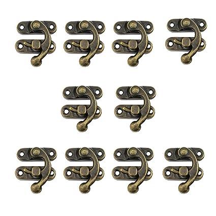 10 cerraduras RZDEAL de 27 x 32 mm para caja de madera envejecida con cerradura para