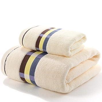 ANSODT Toalla de baño + Toalla algodón Adulto Suave súper Absorbente hogar Hotel Conjunto, Blanco C: Amazon.es: Hogar