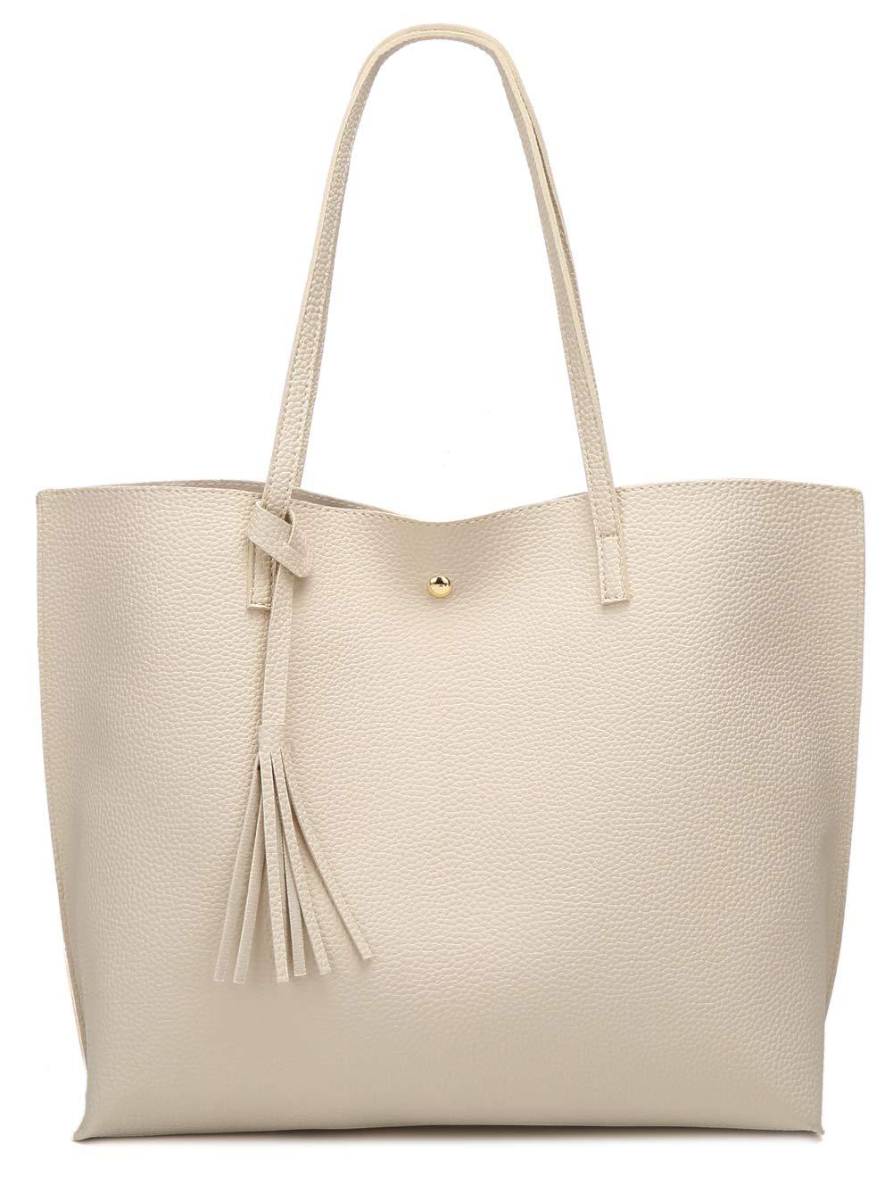Women's Soft Leather Tote Shoulder Bag from Dreubea, Big Capacity Tassel Handbag Beige