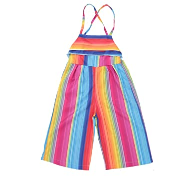 52434a5f089 Baby Girls Little Kids Suspender Rainbow Overall Flared Jumpsuit Colorful  Clothes (Colorful