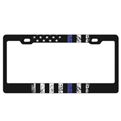 EXMENI Thin Blue Line Flag License Plate Covers Chrome License Plate Frame Tag Holder 2 Holes: Automotive [5Bkhe1405871]