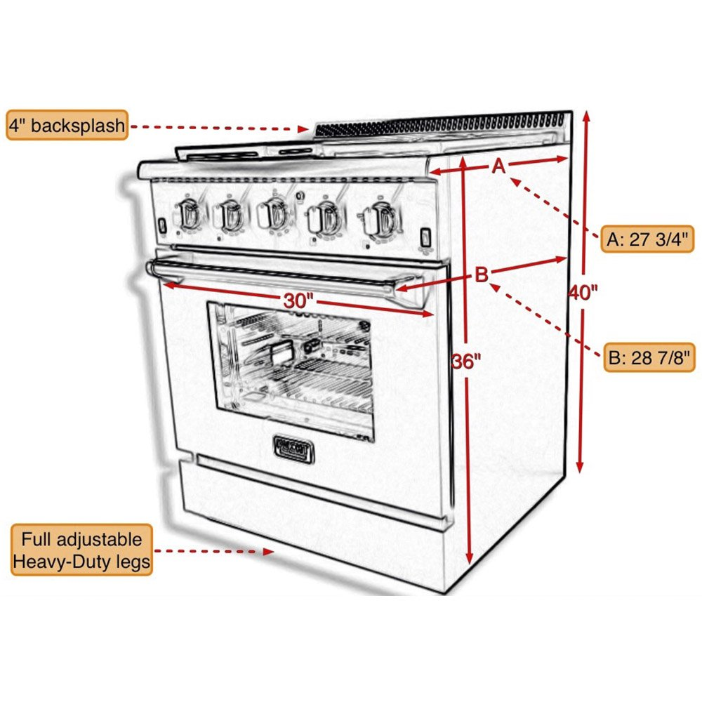 Kucht KRG3080U/LP Professional 30'' 4.2 cu. ft. Propane Gas Range with Sealed Burners and Convection Oven, Stainless-Steel by Kucht
