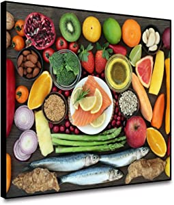 Leowefowa 10x8inch Framed Canvas Wall Art Fresh Fruits and Vegetables Picture Canvas Painting Health Food On Table Wall Poster Modern Home Decorations Artwork Canvas Picture for Dinning Room Kitchen