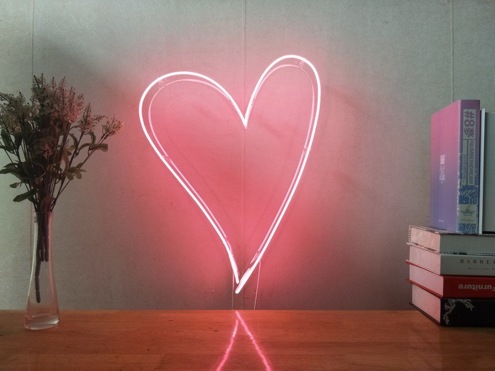 Pink Love Heart Real Glass Neon Sign For Bedroom Garage Bar Man Cave Room Home Decor Handmade Artwork Visual Art Dimmable Wall Lighting Includes Dimmer