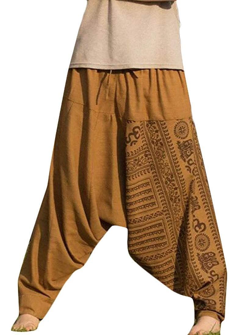 Sweatwater Mens Elastic Waist Casual Print Drop Crotch Sport Yoga Pants