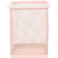 Porta Canetas Lápis Aramado - Quadrado - Rosa bebê