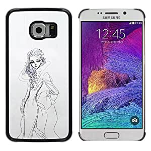 Shell-Star Arte & diseño plástico duro Fundas Cover Cubre Hard Case Cover para Samsung Galaxy S6 EDGE / SM-G925 / SM-G920A / SM-G925T / SM-G925F / SM-G925I ( Sketch Gown Woman Fashion Drawing Pencil )
