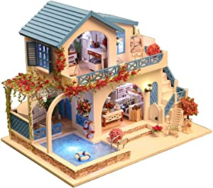 Architecture Model Building Kits with Furniture LED Music Box Miniature Wooden Dollhouse Blue and White Town Series 3D Puzzle Challenge
