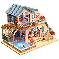 Rylai 3D Puzzles Miniature Dollhouse DIY Kit w/ Light - Blue and White Town Series Dolls Houses Accessories with…