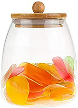 900ML Glass Airtight Storage Jar, Kitchen Food Storage Canister Container with Bamboo Lid, Silicone Sealing Ring for Nuts, Cereal, Candy, Cookie, Flour, Pasta, Spices