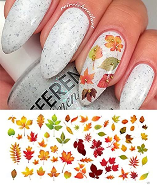 Amazon Com Autumn Fall Leaves Water Slide Nail Art Decals Set 2 Salon Quality 5 5 X 3 Sheet Beauty