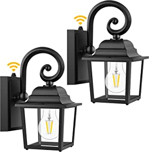 2-Pack Dusk to Dawn Outdoor Wall Lantern, 100% Anti-Rust Aluminum, Exterior Light Fixture Wall Mount, Waterproof Porch Light, Matte Black Wall Sconce with Clear Glass for Doorway, Bulbs not Included