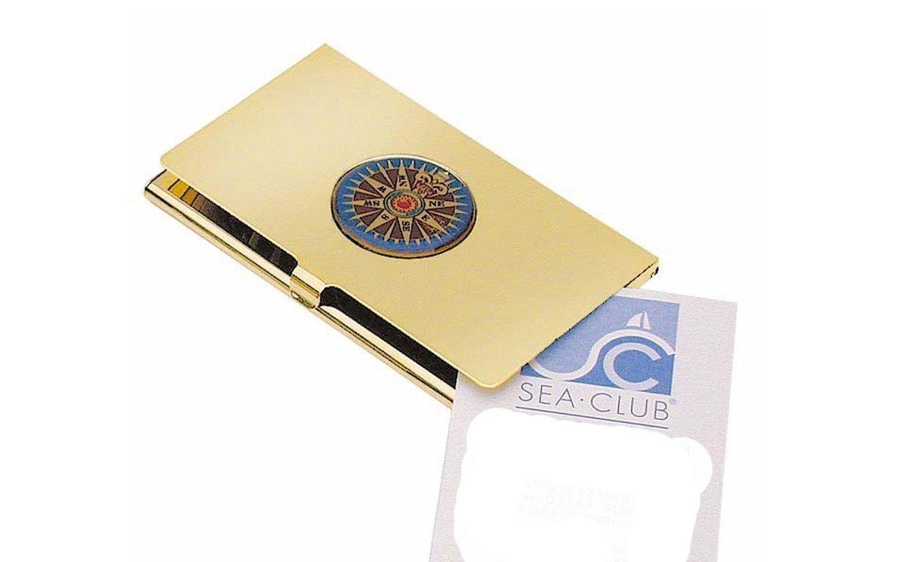 Messing Visitenkartenbox mit Kompa/ßrose im Deckel