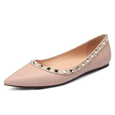 6a4751832f6c4 Amazon.com   Pink Viper Womens Studded Flats Shoes Pointy Toe Slip ...