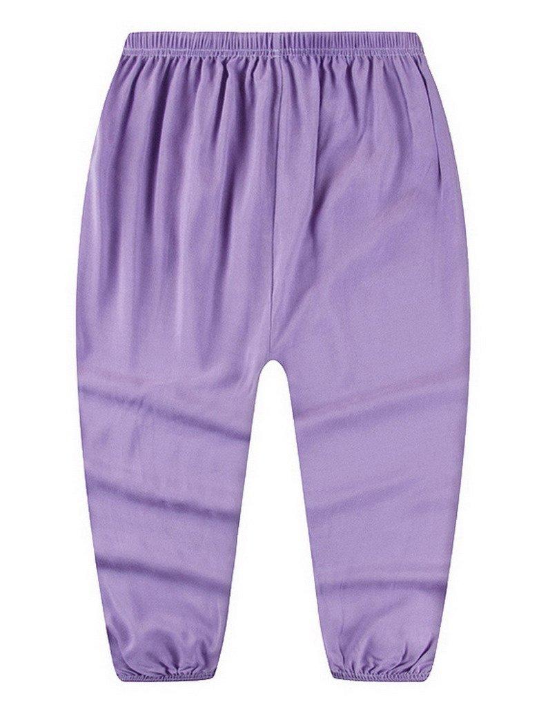 COMVIP Girls Solid Summer Anti-Mosquito Bloomers Sport Trouser Light Purple 140