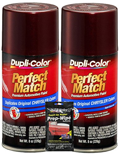 Dupli-Color Deep Cranberry Pearl Perfect Match Automotive Paint for Chrysler Vehicles - 8 oz, Bundles with Prep Wipe (3 Items)
