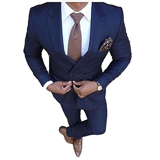 Men\'s Royal Blue Double Breasted Suits 2 Pieces Groom Tuxedos ...