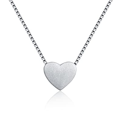 WRISTCHIE 925 Sterling Silver Tiny Silver Floating Heart Necklace 18 TAonp9rj